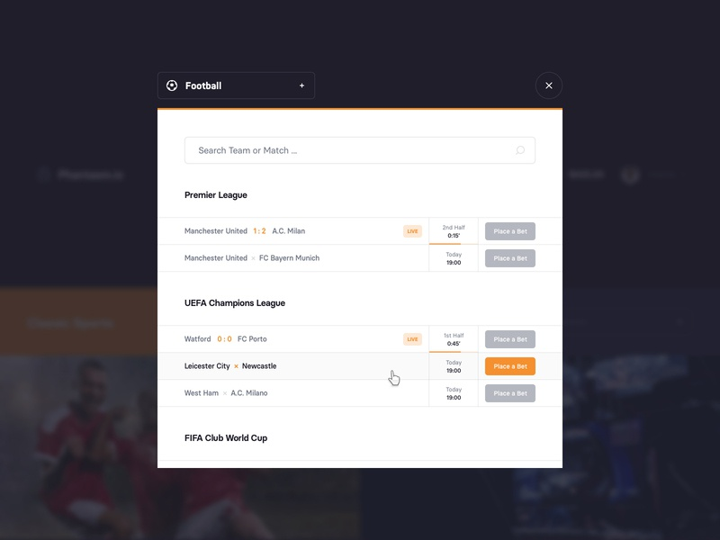 Betting Platform – Matches uidesign webdesign search matches table popup modal interface betting sport ui website