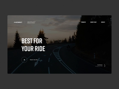 HQBC Hero bike webdesign animation website web design web minimal dark video landing homepage header hero