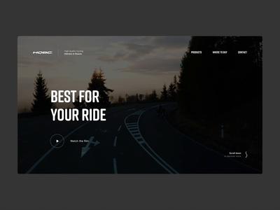 HQBC Hero bike webdesign animation website web design web minimal dark video landing homepage header hero