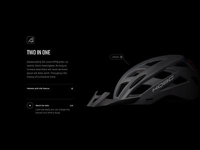 HQBC Product Showcase story helmet web web design webdesign prototype scrolling animation product minimal dark bike website