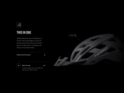 HQBC Product Showcase story helmet web web design webdesign prototype scrolling animation product minimal dark bike website