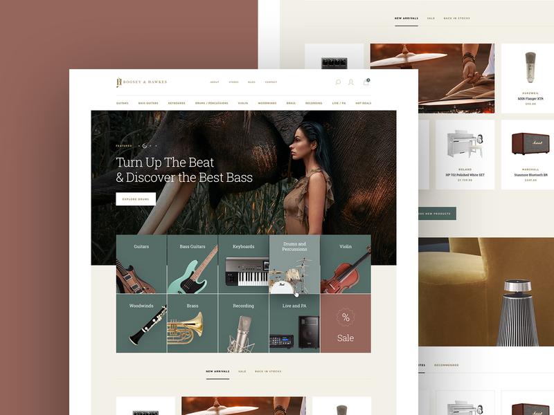Music Equipment eCommerce minimal elegant store ecommerce eshop shop homepage interface webdesign web website musical instruments music