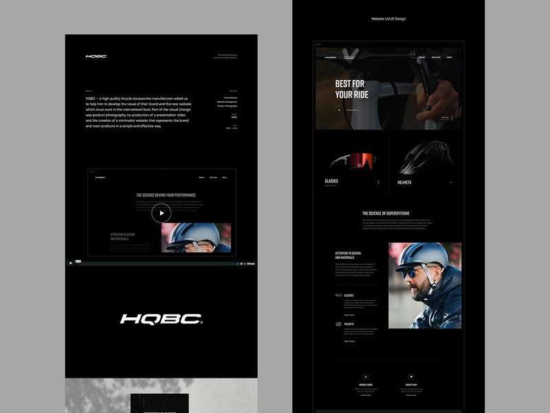 HQBC (Case study) corporate identity minimal dark homepage casestudy behance cycling bike microsite website web design web