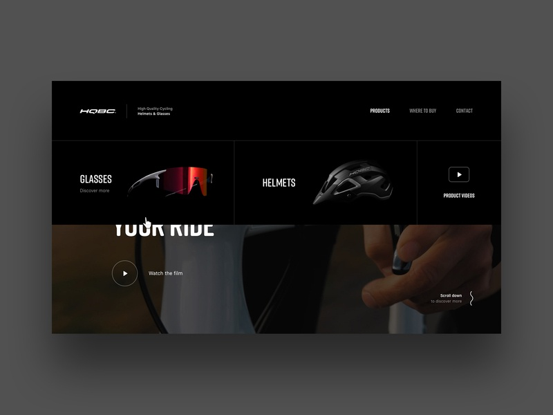 HQBC website (Case study) cycling bike hero submenu microsite behance case study simple dark interface clean webdesign website