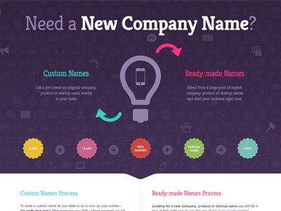 New company name web ui simple badge website interface big typography