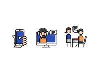 Online Language School talk meeting school headphone headset smartphone illustration illust