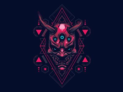 The Devil Sacred geometry creative satan uiux logo brand cover poster t-shirt tattoo sacred geometry horror modern dribbble evil hannya mask face illustration devil