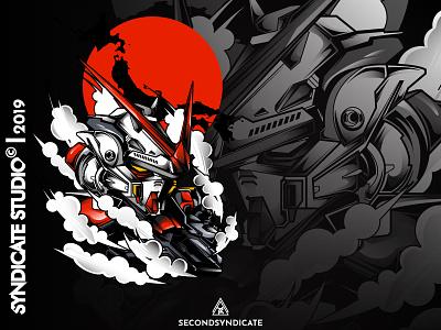 Astray Red Frame Bust F 12 japan robot mecha gunpla gundam modern head detail vector poster t-shirt illustration