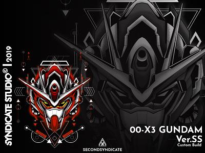 00 X3 Gundam Custom Build illustration giantrobot sacred geometry sacredgeometry head red japan robot mecha gunpla gundam