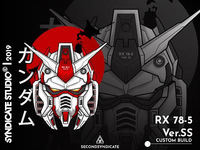 Rx78 5 sacred geometric ux ui branding design poster t-shirt modern illustration detail sacred geometry sacredgeometry head red japan mecha robot gunpla gundam