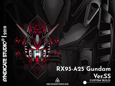 Rx93 A25 Gundam Ver.Ss modern vector detail t-shirt illustration tshirt robot logo ui  ux design ui branding geometry sacred geometry head red japan giantrobot robot mecha gunple gundam