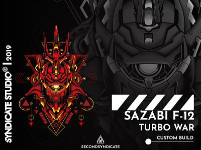 Sazabi F 12 Turbo War branding ui logo design modern sacred detail t-shirt head face red illustration geometry sacredgeometry japan giantrobot robot mecha gunpla gundam