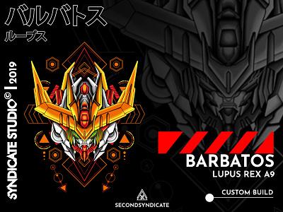 Barbatos Lupus Rex A9 design geometric modern sacred detail vector t-shirt sacred geometry illustration face head japan mecha robot gunpla gundam
