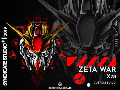 Zeta War X78 sacred geometry ux branding ui logo geometric detail apparel design poster tshirt geometry sacredgeometry face head red japan illustration robot mecha gunpla gundam