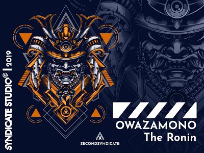 Owazamono branding design geometric head detail vector sacred geometry poster t-shirt illustration japanese trooper mask ronin japan samurai