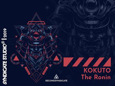 Kokuto ronin samurai japan ornament tattoo neon logo modern geometric sacred head detail sacred geometry poster t-shirt illustration