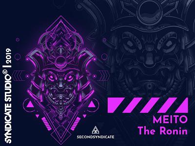 Meito tattoo modern geometric sacred vector detail sacred geometry poster t-shirt mask head logo face head rig trooper warrior samurai japan head illustration ninja