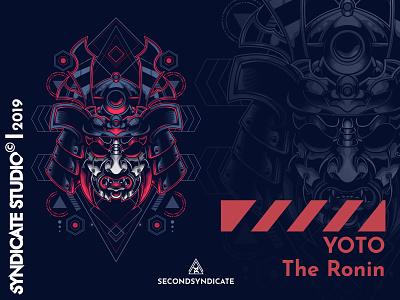 Yoto The Ronin sacred geometry design wild branding cover logo tattoo modern geometric vector detail sacred geometry poster t-shirt illustration warrior head mask ninja ronin samurai