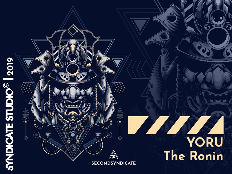 Yoru The Ronin sacred geometry japan wild geometric branding ornament logo tattoo sacred detail vector sacred geometry poster t-shirt illustration samurai jack warrior head ninja ronin samurai