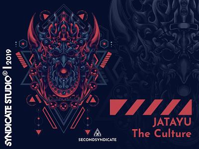 Jatayu The Culture sacred geometry poster branding ornament wild logo modern geometric vector sacred geometry t-shirt illustration tattoo myth animal devil face indonesia culture bali jatayu
