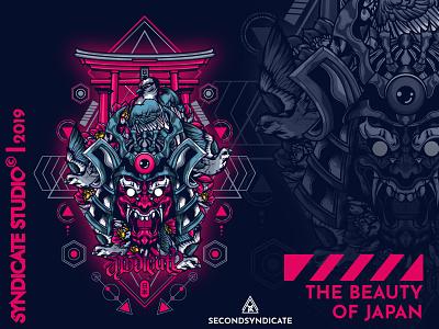 The Beauty Of Japan oni hannya mask ninja ronin geisha tattoo branding modern geometric vector detail animal head sacred geometry poster t-shirt illustration