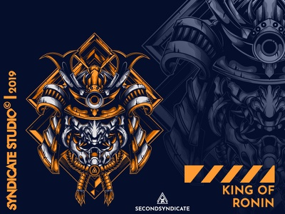 King Of Ronin apparel pin logo wild branding design modern vector detail head poster t-shirt illustration tokyo tattoo samurai mask ronoin ninja japan