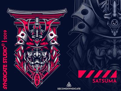 Satsuma wild modern branding tattoo detail poster t-shirt illustration japanese art japanese ninja ronin logo head japan samurai