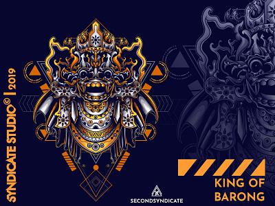 King Of Barong tattoo modern geometric vector animal detail sacred geometry poster t-shirt illustration face logo head dance mask culture leak bali barong