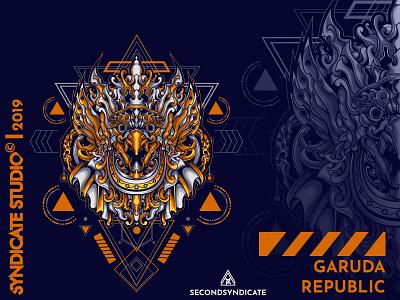 Garuda Republic ornament wild logo tattoo geometric vector animal detail head sacred geometry poster t-shirt illustrations clothing apparel illustration indonesia culture jatayu garuda
