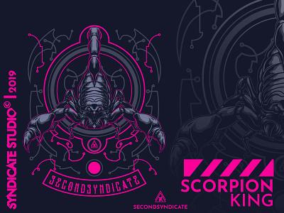 Scorpion King logo design branding modern vector poster t-shirt illustration refline clothing apparel tattoo dark animal illustration poison king beast animal scorpion scorpio