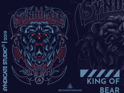 King Of Bear poster wild tattoo modern vector t-shirt apparelstuff posterdesign t-shirtdesign bedge detail beast clothing apparel brand logo illustration head animal bear