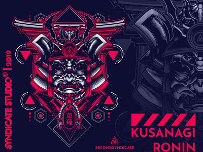 Kusanagi poster detail branding design face sacred logo geometric tattoo modern vector sacred geometry t-shirt illustration japan helmet head ninja ronin samurai