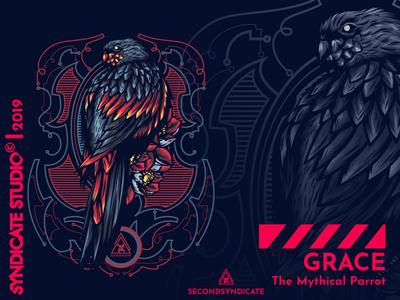 Grace The Mythical Parrot ornament wild logo geometric modern vector detail poster t-shirt illustration animal logo animal art merchandise apparel clothing tattoo animal illustration bird parrot animal