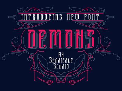 DEMONS Font + FREE illustrations and badges branding typography design logo tattoo vector head detail poster t-shirt bundle art refline illustration devil demon dark displayfont blackletter font