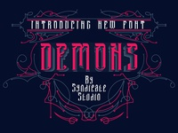 DEMONS Font + FREE illustrations and badges