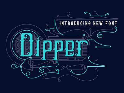 DIPPER Font + Free Illustration and Badges typography design neon tattoo modern animal vector detail poster t-shirt displayfont illustration blackletter fonts font