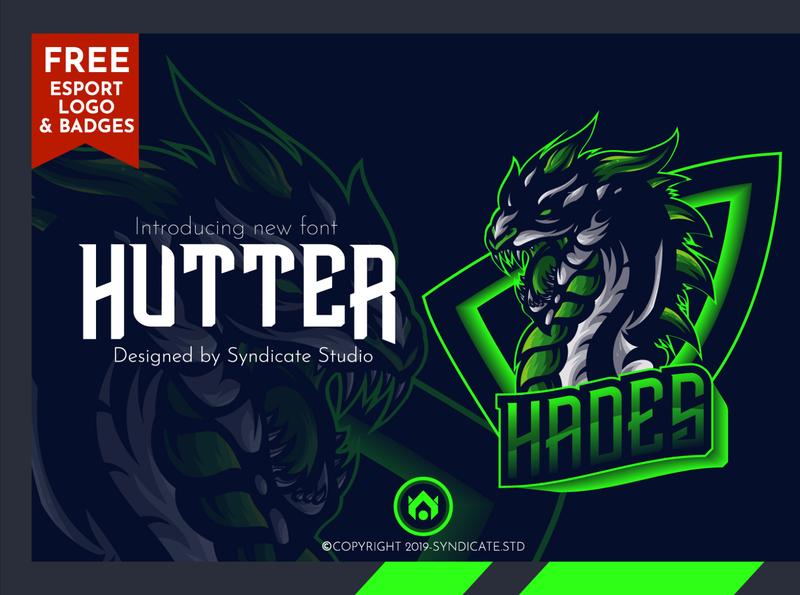 HUTTER | Esport Font + FREE Logo and Badges logo modern animal vector head detail font design badges esportlogo illustration gaming bundle esport font diaplayfont font
