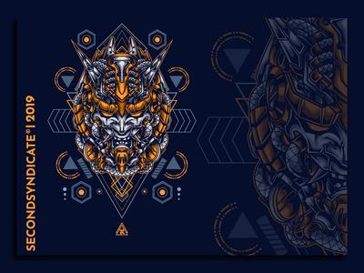 Oni mask from tomorrow devils devil japan hannya oni sacred logo geometric tattoo sacred geometry vector head detail t-shirt illustration