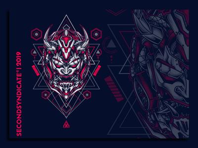 Oni from tomorrow logo geometric tattoo sacred geometry vector head detail poster t-shirt illustration