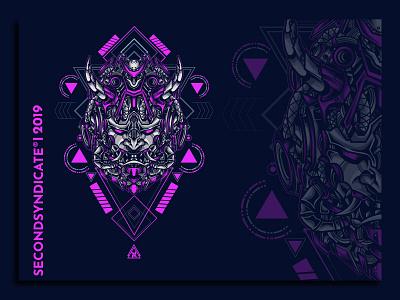 Oni from tomorrow clothing apparel japan devils devil hannya oni wild geometric tattoo sacred geometry vector head poster t-shirt illustration
