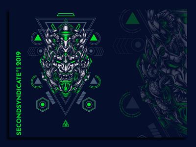 Oni from tomorrow sacred geometry vector head t-shirt illustration japanese art t-shirtdesign clothing apparel oni hannya mask devils devil japan