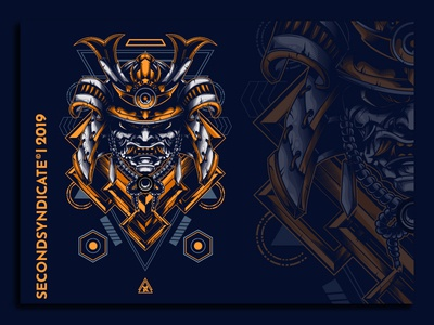 Ronin warrior sacred geometry logo geometric sacred geometry vector head t-shirt ninja oni mask tshirtdesign apparel illustration tattoo japan
