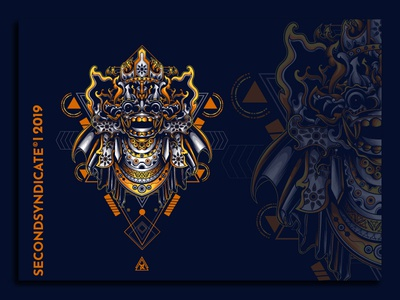barong bali sacred geometry geometric tattoo sacred geometry vector detail poster t-shirt illustration culture logo head leak barong bali