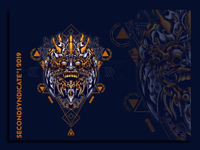 barong sacred geometry wild modern geometric sacred geometry vector t-shirt logo illustration head tattoo culture mask bali barong