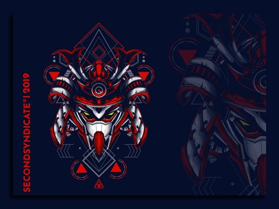 mecha samurai sacred geometry sword oriental armor graphic head design helmet asian face culture art illustration japan traditional tattoo japanese vector warrior mask samurai