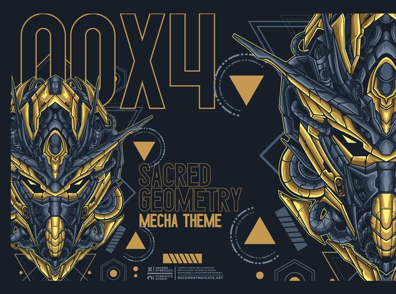 Gundam 00X4 sacred geometry tattoo pin mecha gunpla gundam japan modern geometric sacred geometry detail vector head poster t-shirt illustration