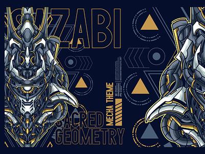 sazabi sacred geometry pin sticker t-shirtdesign apparel clothing japan geometric tattoo sacred geometry head vector poster t-shirt illustration