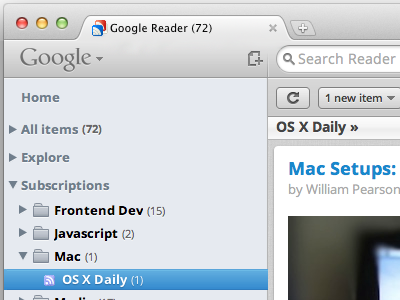 Google Reader — Mac OS Lion UI