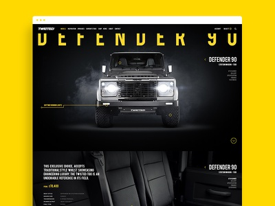Twisted - Defender 90 retouch yellow typography ui design web website car automotive twisted
