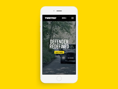 Twisted - Homepage Mobile retouch yellow typography ui design web website car automotive twisted